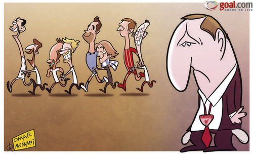 Cartoon: Rodgers the deadline day loser (medium) by omomani tagged brendan,rodgers,clint,dempsey,fink,gaston,ramirez,hamburger,sv,javi,garcia,liverpool,mancini,nigel,adkins,southampton,van,der,vaart,villas,boas
