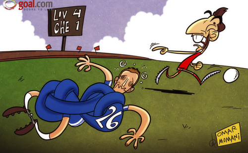 Cartoon: Suarez has Terry tied up in knot (medium) by omomani tagged chelsea,john,terry,liverpool,premier,league,suarez
