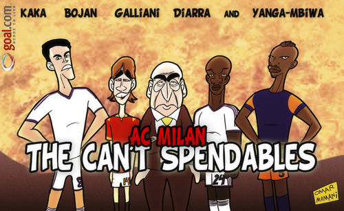 Cartoon: The Cant Spendables (medium) by omomani tagged ac,milan,bojan,galliani,kaka,lassana,diarra,montpellier,real,madrid,roma,yanga,mbiwa