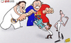 Cartoon: AVB battles (small) by omomani tagged barcelona,gareth,bale,perez,real,madrid,rosell,tottenham,villas,boas