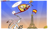 Cartoon: Barcelona stars return (small) by omomani tagged barcelona,champions,league,eiffel,tower,ibrahimovic,iniesta,messi,paris,saint,germain,spain