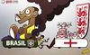 Cartoon: England Wembley win (small) by omomani tagged brazil,david,luiz,england,fred,jack,wilshere,lampard,ronaldinho,rooney