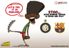 Cartoon: Etoo Loves England (small) by omomani tagged etoo,inter,milan,serie,cameroon,barcelona,spain,england