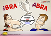 Cartoon: Ibra and Abra (small) by omomani tagged ibrahimovic,abramovich,ac,milan,chelsea,italy,england,sweden,russia,serie,premier,league,champions,soccer,football,cartoon