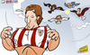 Cartoon: Llorente outgrows Bilbao (small) by omomani tagged ac,milan,antonio,conte,bilbao,juventus,llorente,manchester,city,mancini,massimiliano,allegri,mourinho,real,madrid