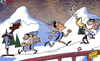 Cartoon: Man City face mountain challenge (small) by omomani tagged aguero,alps,austria,balotelli,manchester,city,mancini,tevez