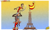 Cartoon: Pedro flies the flag (small) by omomani tagged eiffel,tower,france,iniesta,pedro,spain,victor,valdes,world,cup,qualifications,xabi,alonso