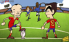 Cartoon: Spain look to tiki-taka (small) by omomani tagged balotelli,euro,2012,iniesta,italy,pirlo,spain,xavi