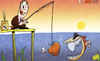 Cartoon: Suarez tempted by Real Madrid (small) by omomani tagged suarez,perez,real,madrid,piranha,fishing,liverpool