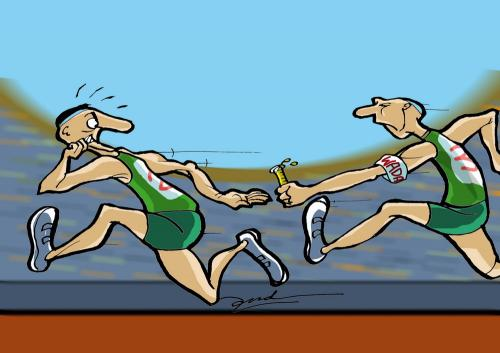 Cartoon: relay race (medium) by andart tagged wada,relay,race,running,games,urine,drug,taking