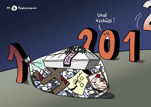 Cartoon: Abgang (medium) by Pfohlmann tagged karikatur,color,farbe,2011,jahreswechsel,2012,silvester,sylvester,abgang,loriot,heesters,jopi,jopie,johannes,nazi,rechts,rechtsextreme,hakenkreuz,mordserie,dönermorde,wetten,dass,euro,eurokrise,fukushima,supergau,gau,atomunfall,havarie,japan,zahlen,ziffern,tschüss,abschied,2011,jahreswechsel,2012,silvester,sylvester,abgang,loriot