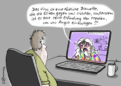 Cartoon: Bescheidwisser.TV (medium) by Pfohlmann tagged 2020,deutschland,welt,global,internet,youtube,video,verschwörungstheorie,corona,coronakrise,coronavirus,pandemie,information,desinformation,eliten,biowaffe,medien,alternative,2020,deutschland,welt,global,internet,youtube,video,verschwörungstheorie,corona,coronakrise,coronavirus,pandemie,information,desinformation,eliten,biowaffe,medien,alternative