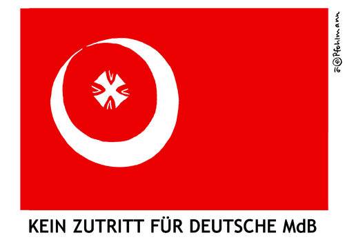 Cartoon: Kein Zutritt (medium) by Pfohlmann tagged karikatur,cartoon,2016,color,deutschland,türkei,bundeswehr,truppenbesuch,stützpunkt,mdb,einreiseverbot,flagge,fahne,halbmond,logo,abgeordnete,verbot,erdogan,incirlik,parlamentarier,armenienresolution,karikatur,cartoon,2016,color,deutschland,türkei,bundeswehr,truppenbesuch,stützpunkt,mdb,einreiseverbot,flagge,fahne,halbmond,logo,abgeordnete,verbot,erdogan,incirlik,parlamentarier,armenienresolution