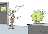 Cartoon: Corona-Test Bayern (small) by Pfohlmann tagged 2020,corona,covid19,coronavirus,pandemie,coronatest,virus,bayern,maske,infektion
