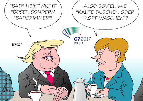 Cartoon: Bad und böse (medium) by Erl tagged usa,praesident,donald,trump,ausland,reise,bruessel,nato,eu,italien,taormina,g7,porzellan,elefant,porzellanladen,egoismus,rechtspopulismus,problem,deutschland,very,bad,schlecht,boese,uebersetzung,medien,bundeskanzlerin,angela,merkel,karikatur,erl,usa,praesident,donald,trump,ausland,reise,bruessel,nato,eu,italien,taormina,g7,porzellan,elefant,porzellanladen,egoismus,rechtspopulismus,problem,deutschland,very,bad,schlecht,boese,uebersetzung,medien,bundeskanzlerin,angela,merkel,karikatur,erl