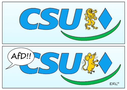 Cartoon: CSU (medium) by Erl tagged illustration,politik,landtagswahl,bayern,csu,wahlkampfendspurt,wahlkampf,endspurt,umfragen,einbruch,flüchtlingspolitik,imitation,afd,angst,wähler,verlust,stimmenverlust,rechtspopulismus,parteivorsitzender,horst,seehofer,ministerpräsident,markus,söder,schlingerkurs,löwe,maus,karikatur,erl,illustration,politik,landtagswahl,bayern,csu,wahlkampfendspurt,wahlkampf,endspurt,umfragen,einbruch,flüchtlingspolitik,imitation,afd,angst,wähler,verlust,stimmenverlust,rechtspopulismus,parteivorsitzender,horst,seehofer,ministerpräsident,markus,söder,schlingerkurs,löwe,maus,karikatur,erl