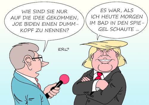 Cartoon: Trump Biden (medium) by Erl tagged politik,usa,präsident,donald,trump,rechtspopulismus,beleidigung,joe,biden,dummkopf,kandidat,demokraten,karikatur,erl,politik,usa,präsident,donald,trump,rechtspopulismus,beleidigung,joe,biden,dummkopf,kandidat,demokraten,karikatur,erl