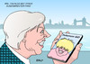 Cartoon: Boris Johnson I (small) by Erl tagged großbritannien,brexit,premierministerin,theresa,may,kabinett,außenminister,boris,johnson,überraschung,london,pokemon,go,handy,spiel,app,suche,figuren,monster,virtual,reality,karikatur,erl