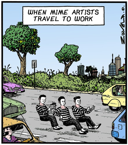Cartoon: Mimes on the way to Work (medium) by Tony Zuvela tagged mime,artists,traveling,to,work,artist,cars,vehicles,road,highway,driving,art,form,craft,travel,office,show