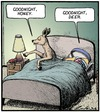 Cartoon: Goodnight Honey (small) by Tony Zuvela tagged goodnight honey deer doe dear food animal bedtime lights out go to sleep married couple