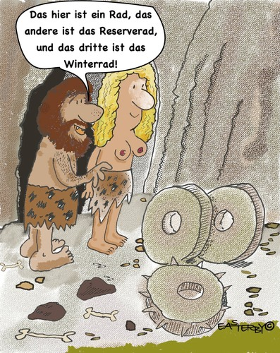 Cartoon: GERMAN WHEELS (medium) by EASTERBY tagged stoneage,inventios