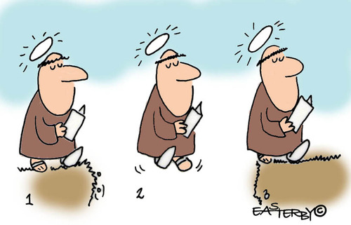 Cartoon: HOLY ORDERS 1 (medium) by EASTERBY tagged monks,halos