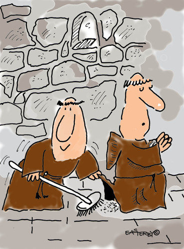 Cartoon: HOLY ORDERS 8 (medium) by EASTERBY tagged monks,halos,faith,believing,cleaning