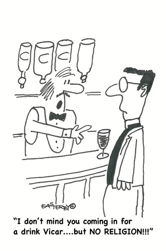 Cartoon: NO religion (medium) by EASTERBY tagged vicar,church,alcohol