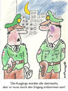Cartoon: AUS UND EINGÄNGE (small) by EASTERBY tagged police watching waiting