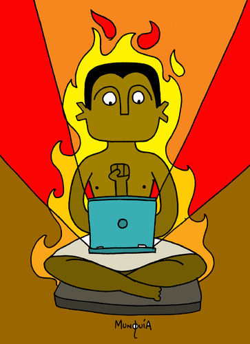 Cartoon: Digital Scribba on Fire (medium) by Munguia tagged seated,scribba,egypt,arab,spring,revolution,digital,fire,network