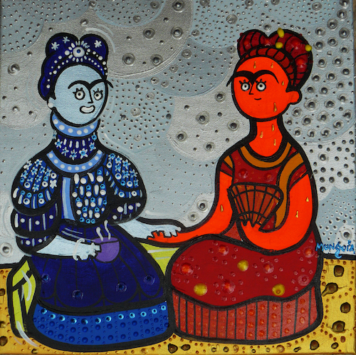 Cartoon: Fria Kahlo y Frida Calor (medium) by Munguia tagged cold,hot,frida,kahlo,famous,paintings,parodies,red,blue