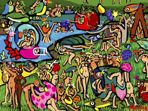 Cartoon: Garden of earthly delights (medium) by Munguia tagged bosch,el,bosco,garden,of,earthy,delights,nude,naked,famous,paintings,parodies