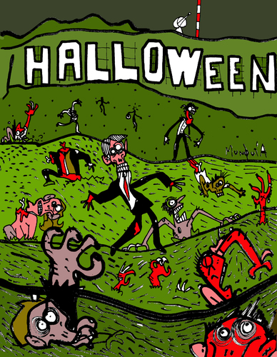 Cartoon: Halloween (medium) by Munguia tagged zombis,muertos,caricatura,grafico,humor,rica,costa,munguia,movie,thriller,cementery,death,decay,dead,living,halloween,zombies,montain,billboard,hollywood