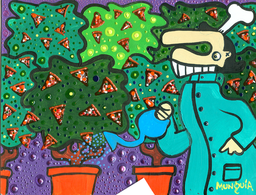 Cartoon: Pizza Bush (medium) by Munguia tagged pizzapitch,bush,chef,three,plant,garden,pizza,slice