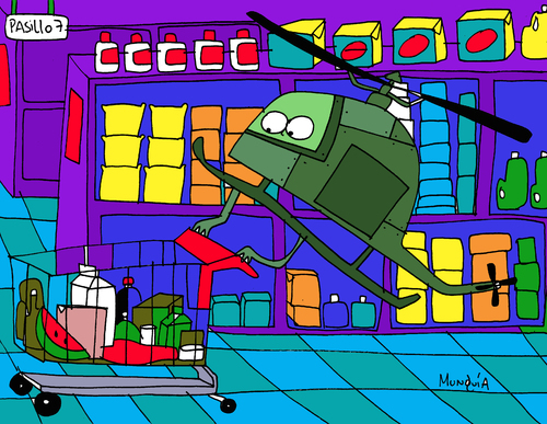 Cartoon: Shopper Chopper (medium) by Munguia tagged shopper,shopping,chopper,helicopter,mall,supermarket,market,munguia,calcamunguias,costa,rica,english