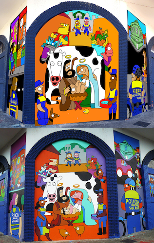 Cartoon: Sketch and Final Mural (medium) by Munguia tagged police,mural,art,street,cartoon