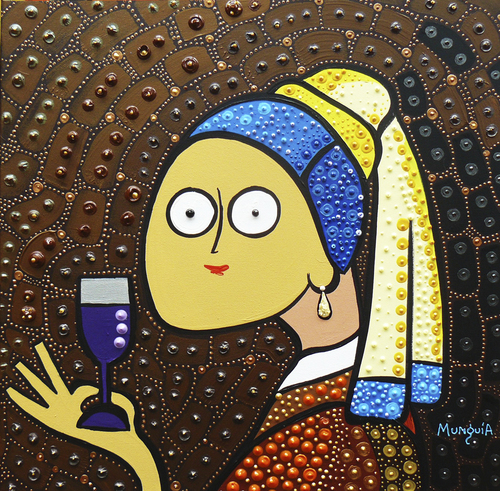 Cartoon: toasting (medium) by Munguia tagged johannes,vermeer,girl,with,pearl,earring,joven,con,arete,de,perlas,wine,toast,brindis,vino