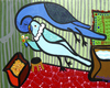 Cartoon: Budgies Love (small) by Munguia tagged budgies,love,kiss,birthday,marc,chagall,parody,painting,costa,rica,humor,grafico,munguia,periquitos,de,amor