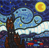 Cartoon: Cats Starry night (small) by Munguia tagged van gogh vincent famous paintings parodies paint cat kitty