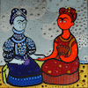 Cartoon: Fria Kahlo y Frida Calor (small) by Munguia tagged cold hot frida kahlo famous paintings parodies red blue