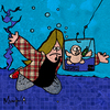 Cartoon: grunge fishing (small) by Munguia tagged nevermind,20,years,nirvana,baby,cover,parody,parodies,pool,underwater,fishing,grunge,90s,munguia,costa,rica,humor,caricatura,rock,generation
