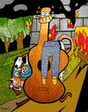 Cartoon: Guitar Hero (small) by Munguia tagged guitar guitarra stringed instrument music musico musica hero saver life family fire