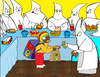 Cartoon: KKKfc express (small) by Munguia tagged race,monks,bishop,zurbaran,monjes,blancos,white,fried,chicken,fast,food,express
