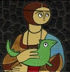 Cartoon: Lady and the dragon (small) by Munguia tagged lady,and,the,ermine,leonardo,da,vinci