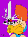 Cartoon: Lion OH NO! (small) by Munguia tagged thundercats leono liono lion sword swiss blade comic munguia costa rica humor grafico caricatura