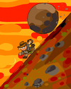 Cartoon: Sisyphus Jones (small) by Munguia tagged sisyphus,sisifo,work,indiana,jones,rolling,stone