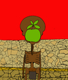 Cartoon: El hijo del Hambre Son of Hunger (small) by Munguia tagged son of man starving hungry hunger africa african apple thin dry
