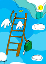 Cartoon: stair way to heaven (small) by Munguia tagged munguia,stairway,to,heaven,leader,led,zepelin,sky,fly,trip