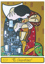 Cartoon: The hickey (small) by Munguia tagged klimt,kiss,vampire,draco,dracula,love,munguia,paint,parody,art,clasical