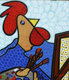 Cartoon: Van Cock (small) by Munguia tagged self,portrait,with,brushes,van,gogh,rooster,chicken,cock,parody,famous,painting